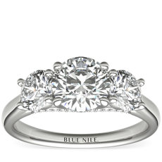 Three-Stone Pavé Gallery Diamond Engagement Ring in Platinum